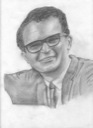 Hand-drawn portrait of Dave Brubeck