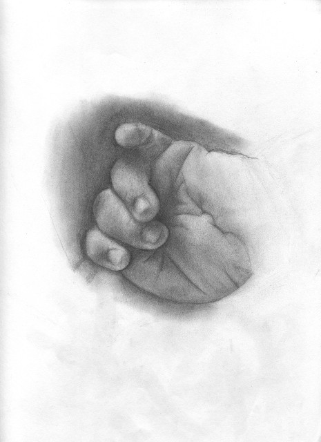 A hand-drawn picture of a baby's hand